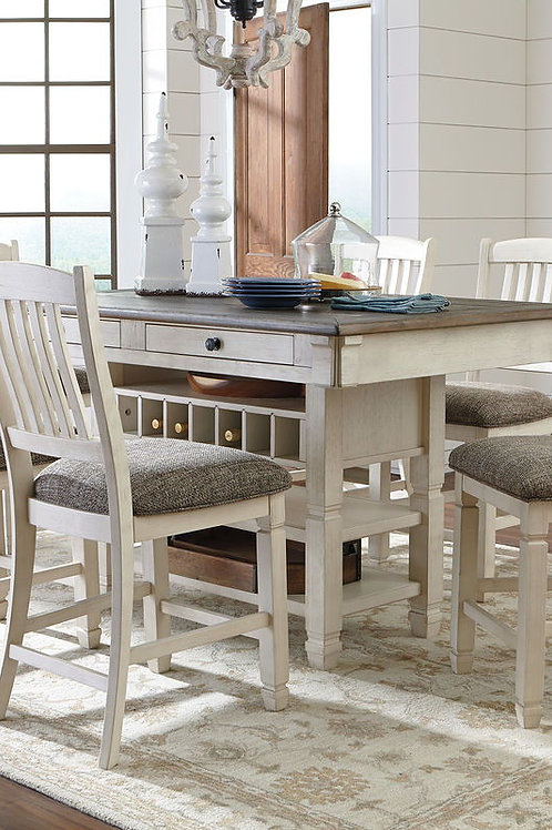Bolanburg - Antique White - 7 Pc. - RECT DRM Counter Table & 6 UPH Barstools