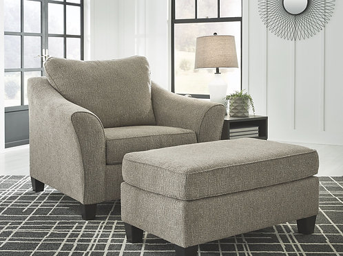 Barnesley - Platinum - Chair and a Half with Ottoman