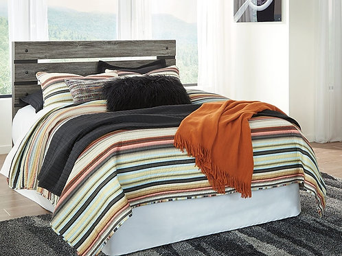 Cazenfeld - Black/Gray - Queen Panel Headboard with Bolt on Bed Frame