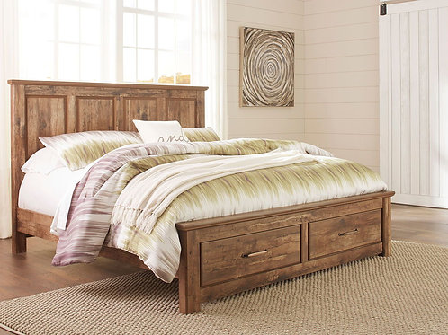 Blaneville - Brown - King Panel Bed with 2 Storage Drawers