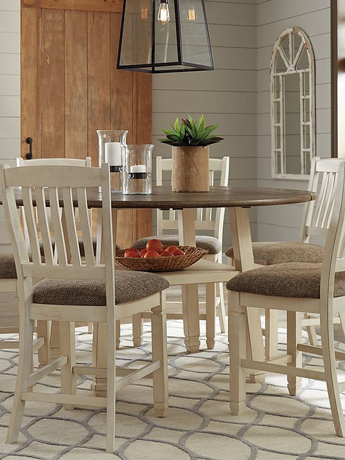 Bolanburg - Two-tone - 7 Pc. - Round Drop Leaf Counter Table & 6 UPH Barstools