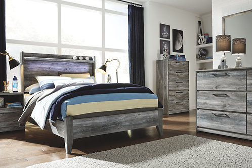 Baystorm - Gray - 5 Pc. - Dresser, Mirror, Chest & Full Panel Bed
