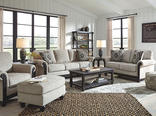 Benbrook - Ash - Sofa, Loveseat, Chair, Ottoman & Mallacar Table Set