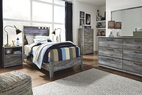 Baystorm - Gray - 6 Pc. - Dresser, Mirror, Twin Panel Bed & 2 Nightstands