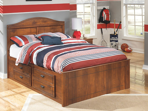 Barchan - Medium Brown - Full Panel Bed with 2 Storage Drawers