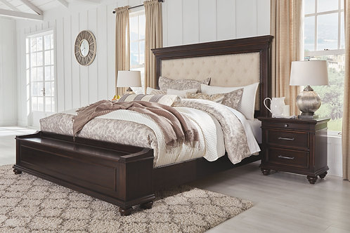 Brynhurst - Dark Brown - 4 Pc. - King UPH Bed with Storage & Nightstand