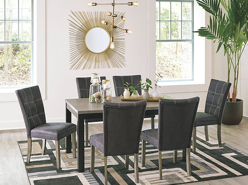 Dontally - Two-tone - 7 Pc. - RECT DRM Table & 6 UPH Side Chairs