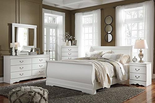 Anarasia - White - 6 Pc. - Dresser, Mirror, Chest & Queen Sleigh Bed