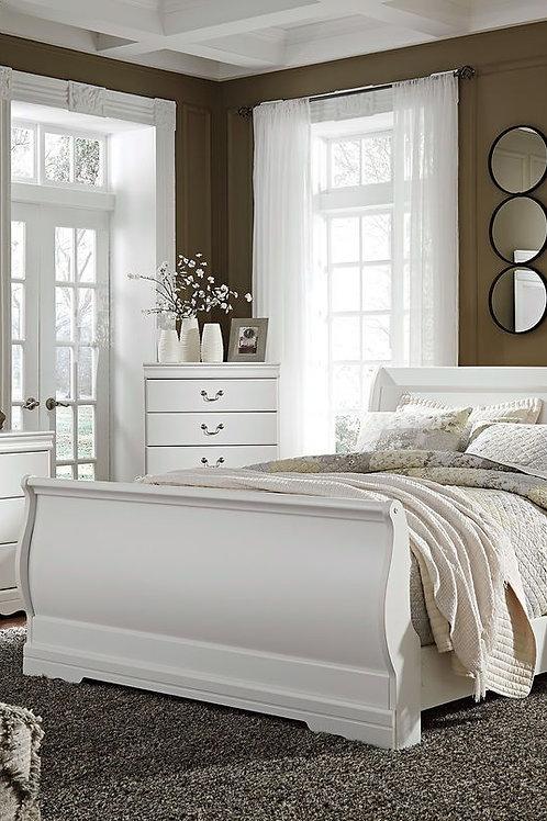 Anarasia - White - 6 Pc. - Dresser, Mirror, Queen Sleigh Bed & Nightstand