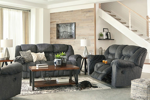Capehorn - Granite - REC Sofa, DBL REC Loveseat with Console & Rocker Recliner