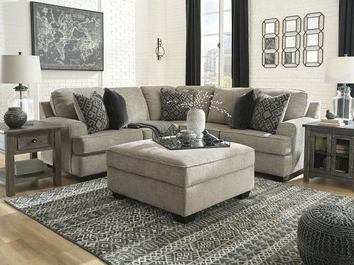 Bovarian - Stone - LAF Sofa with Corner Wedge, RAF Loveseat Sectional & Ottoman