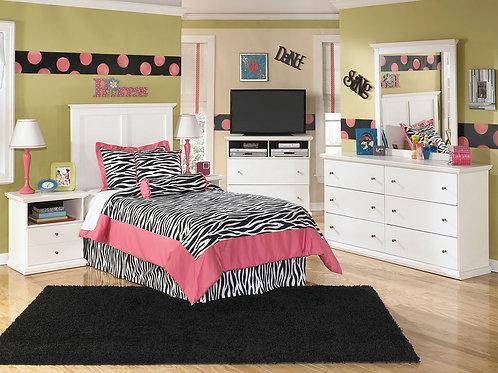 Bostwick Shoals - White - Dresser, Mirror, Twin Panel Headboard & 2 Nightstands