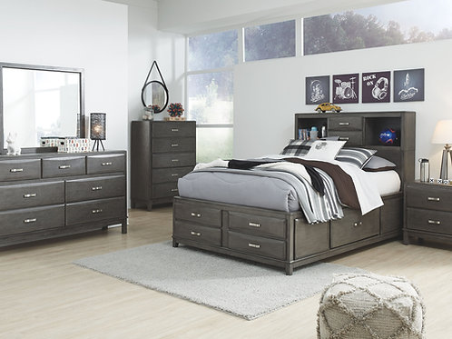 Caitbrook - Gray - 5 Pc. - Dresser, Mirror & Full Storage Bed with 7 Drawers