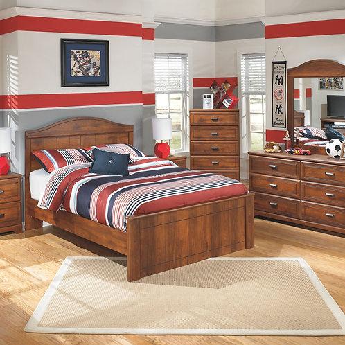 Barchan - Medium Brown - Dresser, Mirror, Chest, Full Panel Bed & 2 Nightstands
