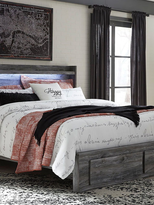 Baystorm - Gray - King Panel Bed with 2 Storage Drawers