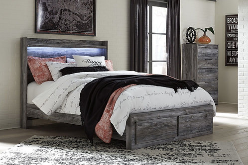Baystorm - Gray - 5 Pc. - Chest & Queen Panel Bed with 2 Storage Drawers