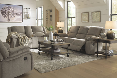 Draycoll - Pewter - REC Sofa, DBL REC Loveseat with Console & Rocker Recliner