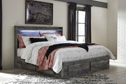 Baystorm - Gray - King Panel Bed with 6 Storage Drawers