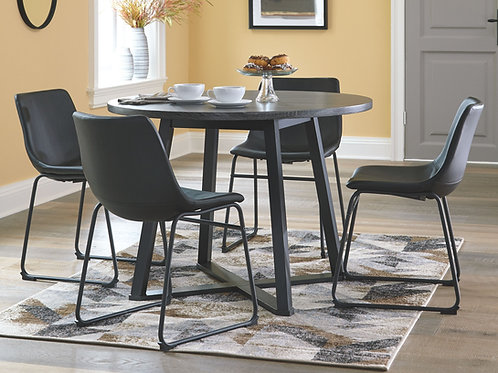 Centiar - Gray/Black - 5 Pc. - Round DRM Table & 4 UPH Side Chairs