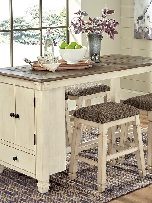 Bolanburg - Two-tone - 5 Pc. - RECT DRM Counter Table & 4 UPH Stools