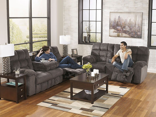 Acieona - Slate - REC Sofa with Drop Down Table & DBL Rec Loveseat with Console