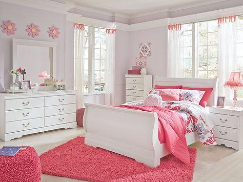 Anarasia - White - 6 Pc. - Dresser, Mirror, Chest & Full Sleigh Bed