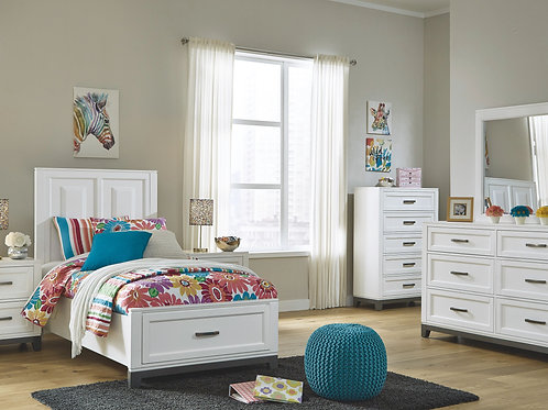 Brynburg - White - 5 Pc. - Dresser, Mirror & Twin Panel Bed