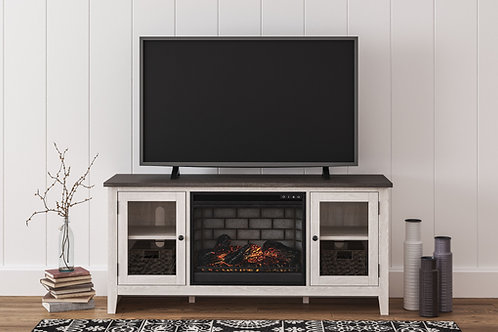 Dorrinson - Two-tone - LG TV Stand with Fireplace Insert Infrared