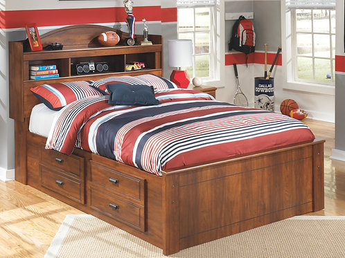 Barchan - Medium Brown - Full Bookcase Bed with 2 Storage Drawers