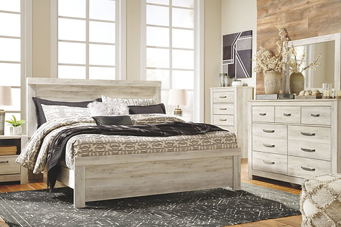 Bellaby - Whitewash - 6 Pc. - Dresser, Mirror, Chest & King Panel Bed