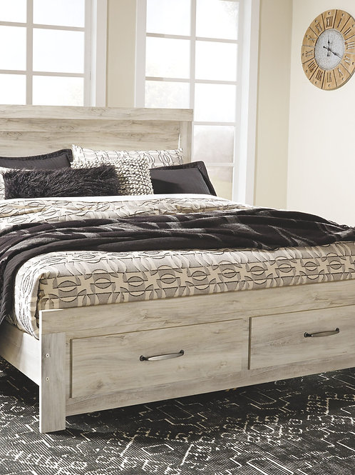 Bellaby - Whitewash - King Panel Bed with 2 Storage Drawers