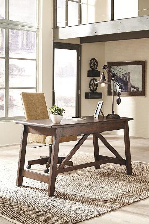 Baldridge - Rustic Brown - Large Leg Desk & UPH Swivel Desk Chair