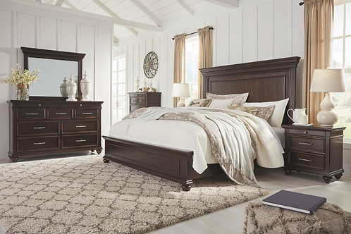 Brynhurst - Dark Brown - 5 Pc. - Dresser, Mirror & King Panel Bed