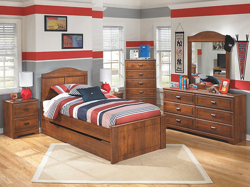 Barchan - Medium Brown - Dresser, Mirror, Chest, Twin Panel Bed with Trundle