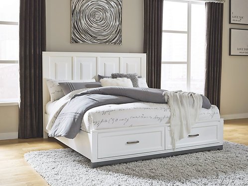 Brynburg - White - Queen Panel Bed with 2 Storage Drawers