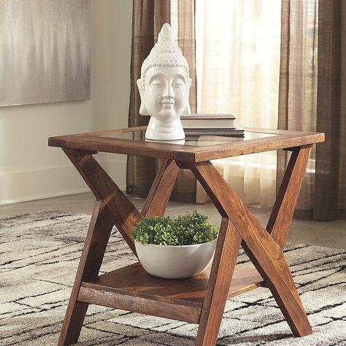 Charzine - Warm Brown - Rectangular End Table