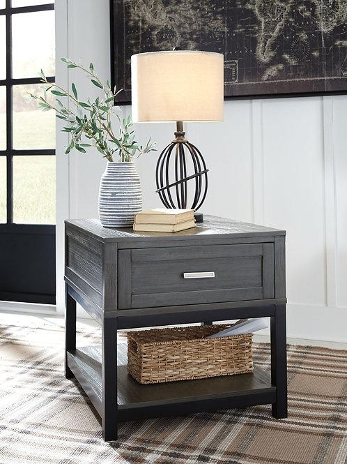 Caitbrook - Gray/Black - Rectangular End Table