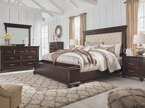 Brynhurst - Dark Brown - 5 Pc. - Dresser, Mirror & Queen UPH Bed with Storage