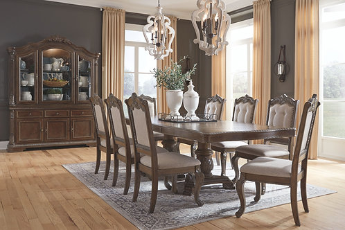 Charmond - Brown - 10 Pc. - RECT DRM EXT Table & 8 UPH Side Chairs