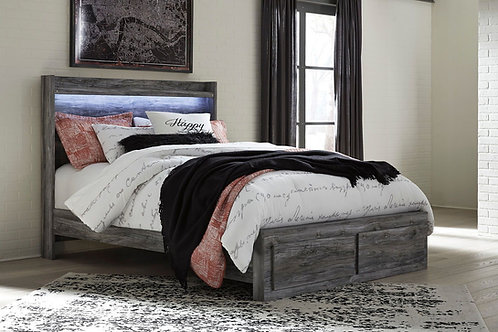 Baystorm - Gray - Queen Panel Bed with 2 Storage Drawers