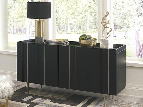 Brentburn - Black/Gold Finish - Accent Cabinet