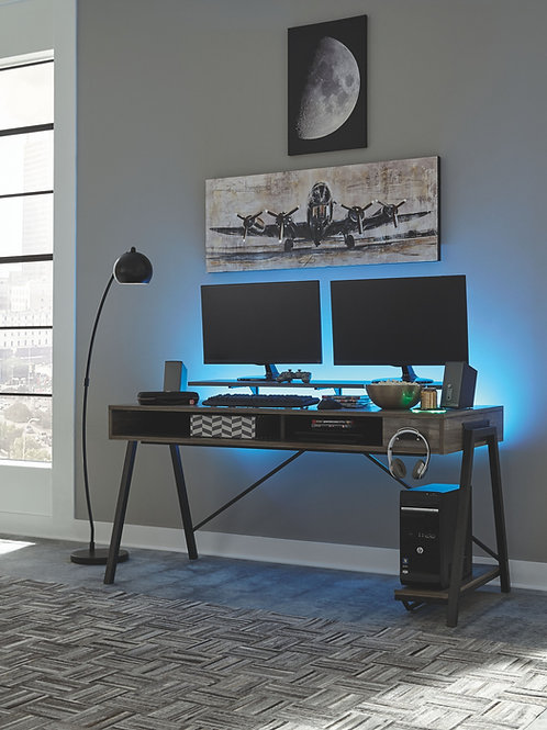 Barolli - Gunmetal - Gaming Desk