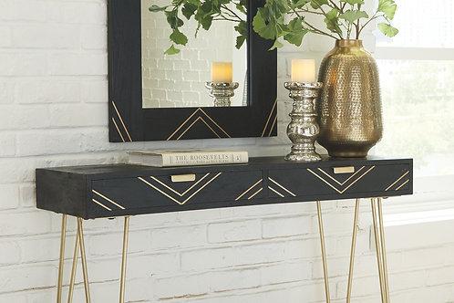 Coramont - Black/Gold Finish - Console Table w/Mirror (2/CN)