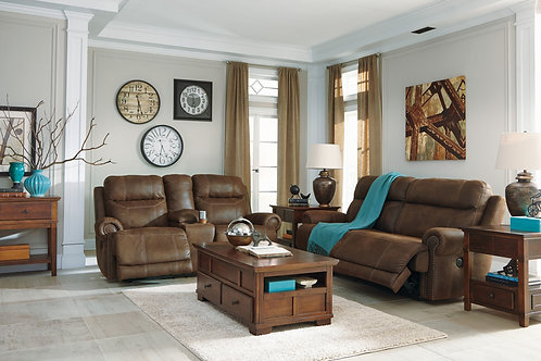 Austere - Brown - 2 Seat REC PWR Sofa & DBL REC PWR Loveseat with Console