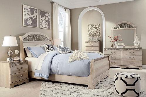 Catalina - Antique White - 6 Pc. - Dresser, Mirror, Chest & Queen Sleigh Bed