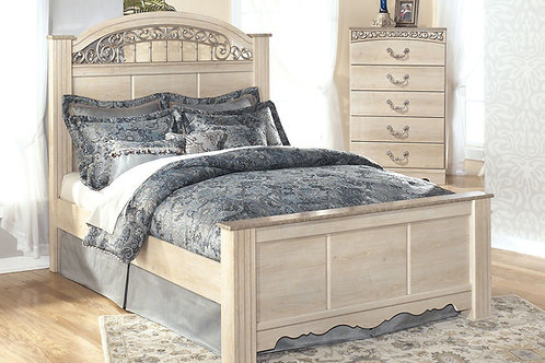 Catalina - Antique White - 4 Pc. - King Poster Bed & Chest