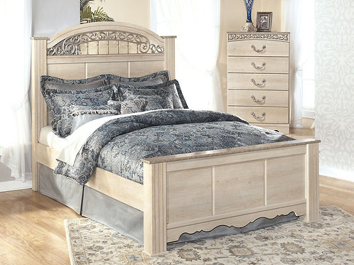 Catalina - Antique White - 4 Pc. - Chest & Queen Poster Bed