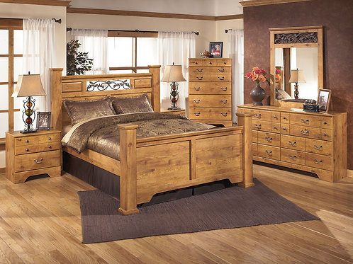 Bittersweet - Light Brown - 7 Pc. - Dresser, Mirror, Chest & Queen Poster Bed