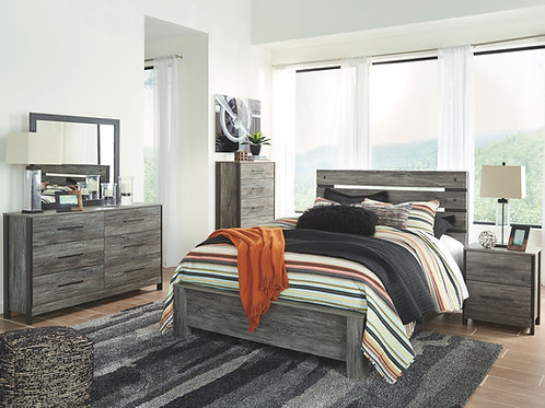 Cazenfeld - Black/Gray - 5 Pc. - Dresser, Mirror & Queen Panel Bed