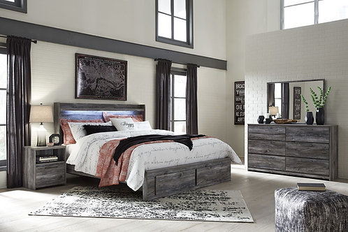 Baystorm - Gray - 5 Pc. - Chest & King Panel Bed with 2 Storage Drawers